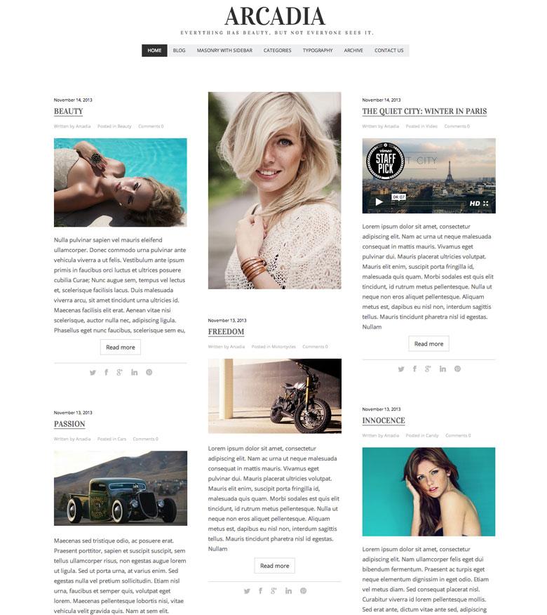 Arcadia WordPress Theme Editorial Magazine Fashion Blog Theme