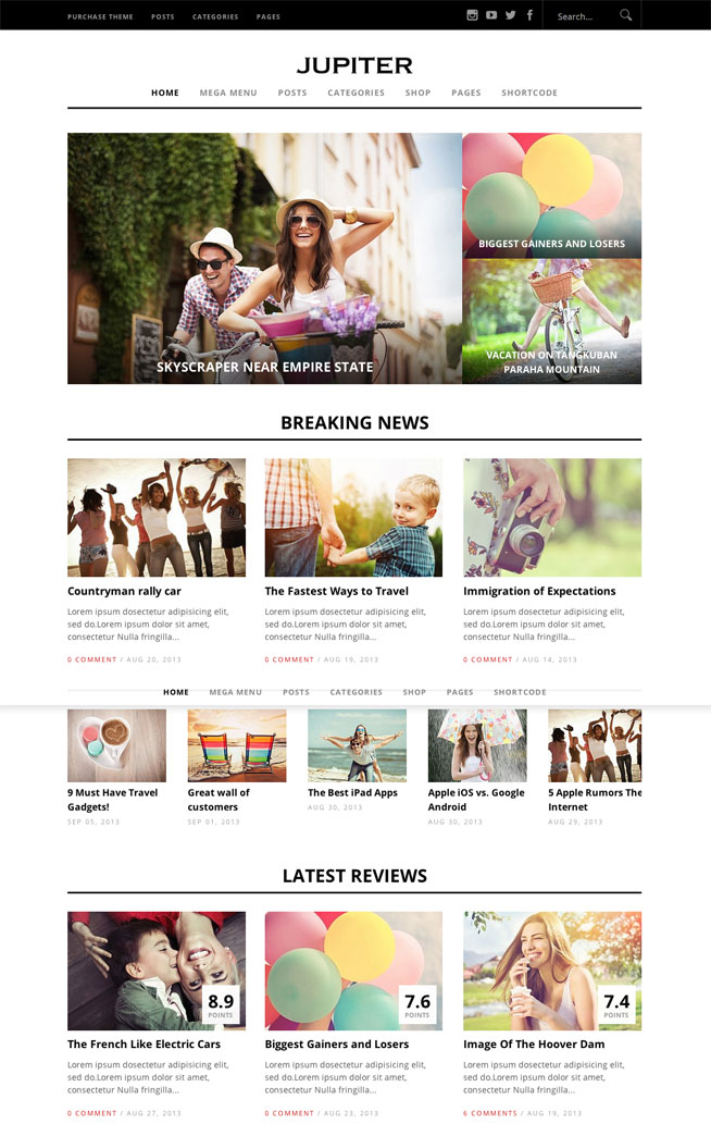 Jupiter Magazine WordPress theme