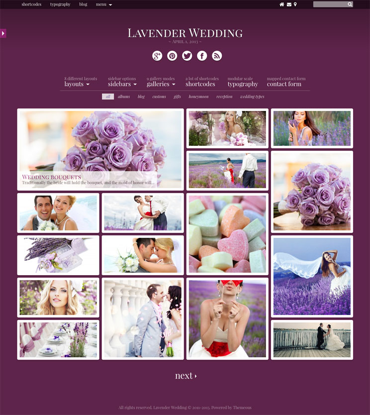 Lavender WEdding WordPress Theme