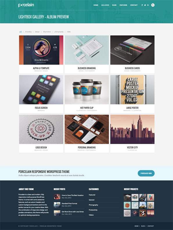 Porcelain Multipurpose Gallery Portfolio Theme