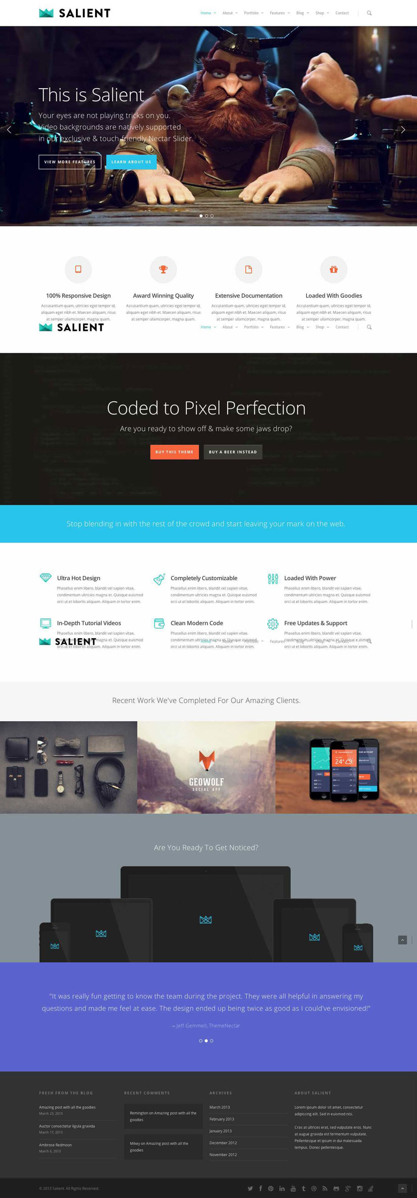 Salient WordPress Theme Review and Preview