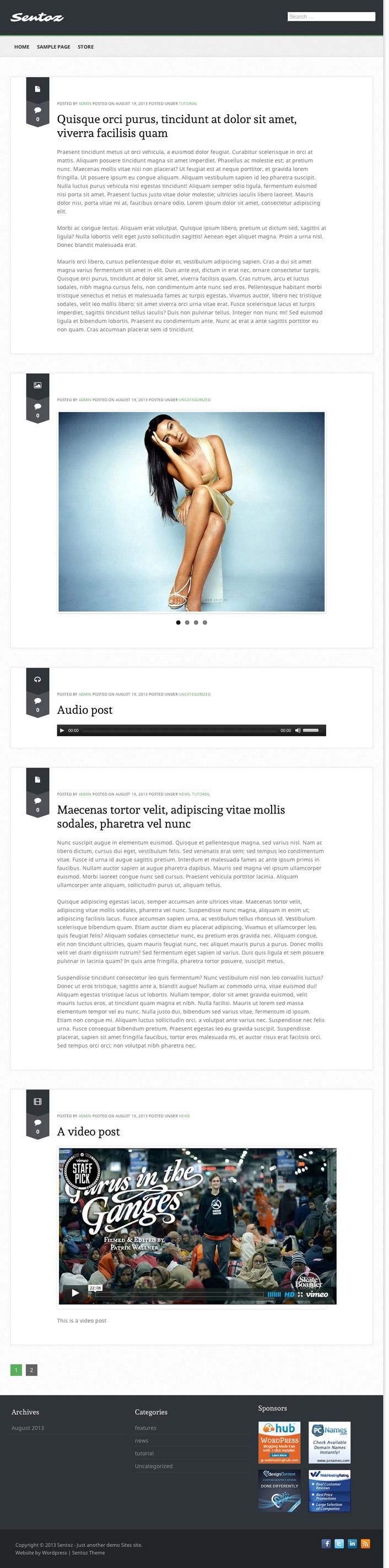 Sentoz WordPress Theme