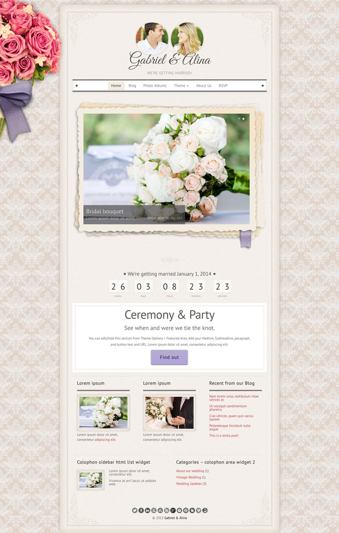 Vintage Wedding Theme WordPress Theme