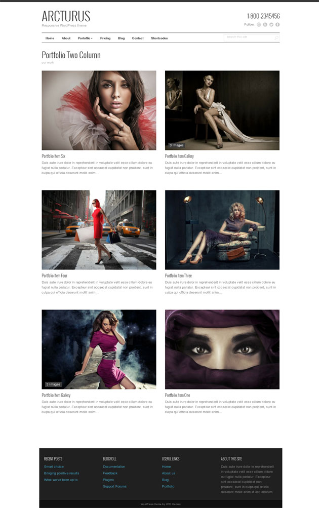 WordPress Theme Minimal Photography Portfolio Theme