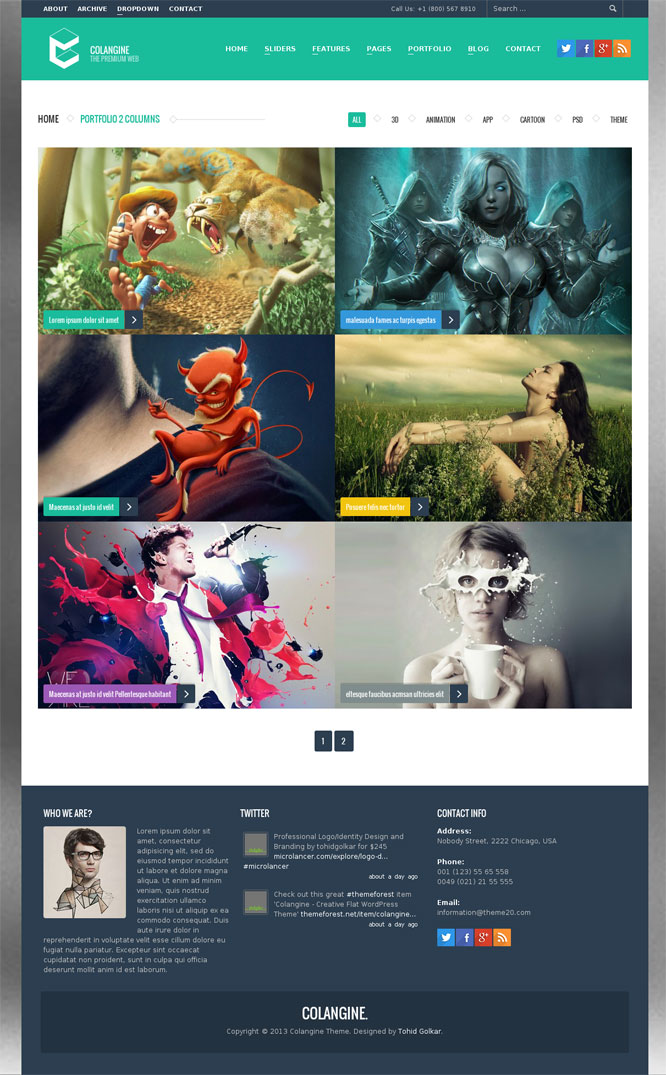 Colangine Portfolio Theme Preview