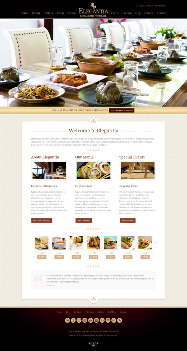 elegantia wordpress theme for restaurant, food insutry, cafe, bistro