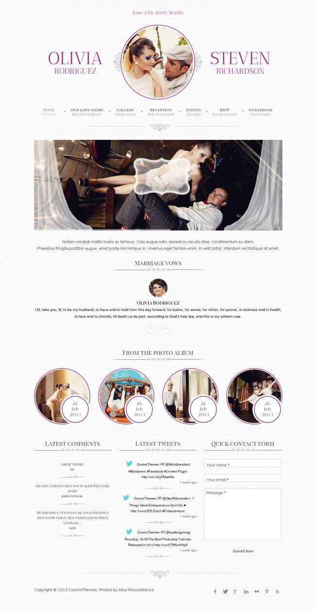 Game Over WordPress Theme for Weddings