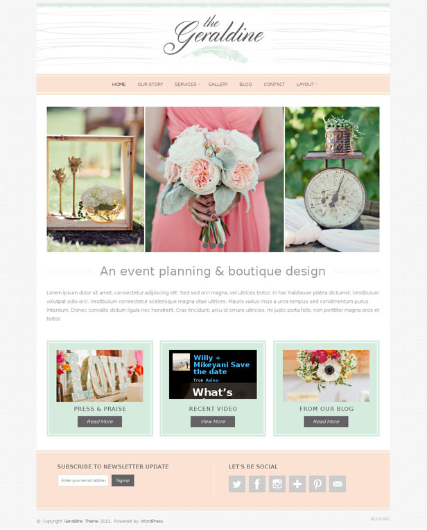 Geraldine WOrdPress Theme Wedding Planner Boutique