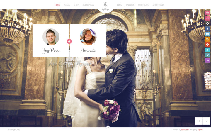 Gittys WordPress Theme Wedding Portfolio