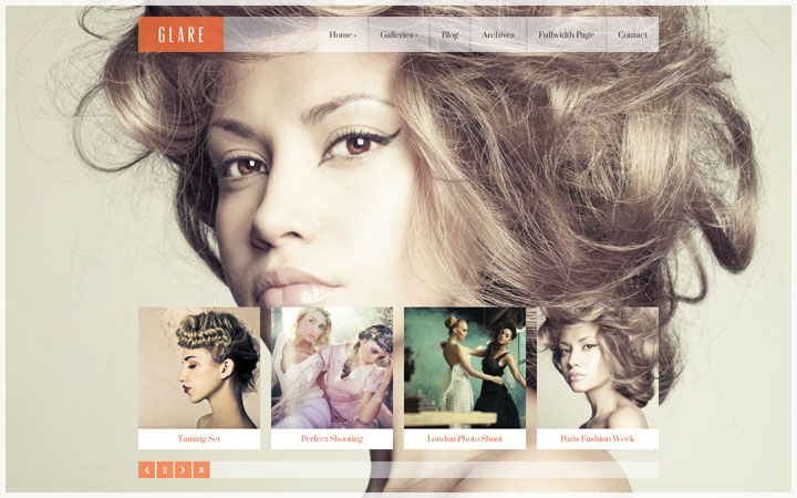 Glare WordPress Theme for Photographers and Models