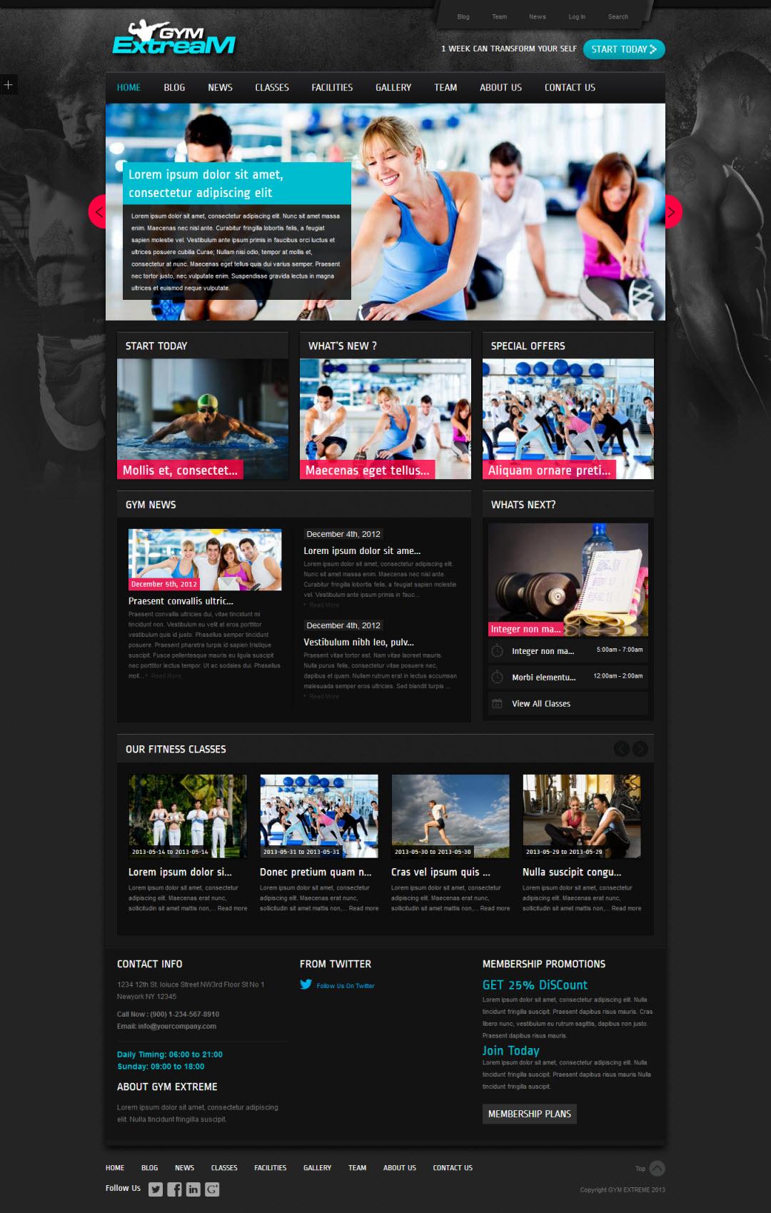 Gym Extream WordPress Theme