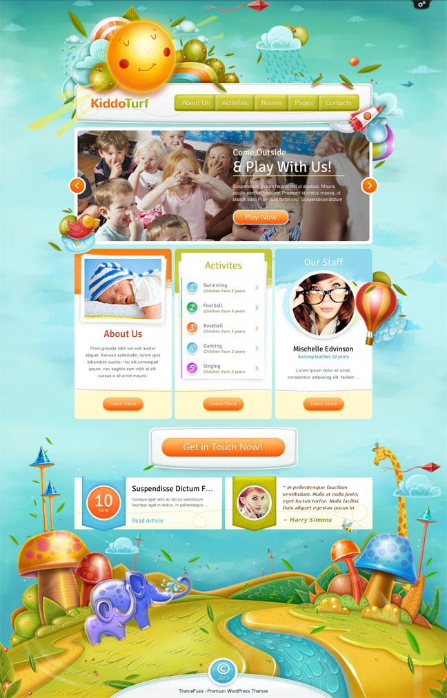 KiddoTurf wordpress theme for daycare, preschool, kindergarten