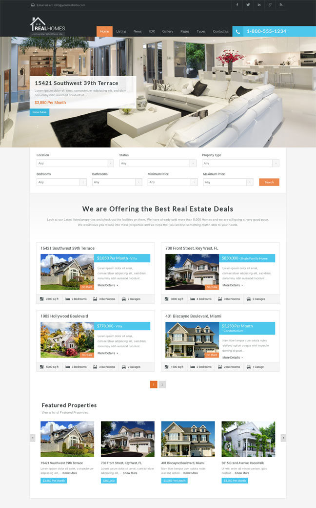 real homes wordpress theme for real estate listings download link