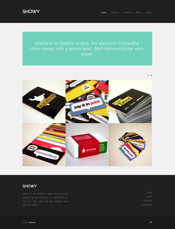 Showy WordPress Theme Portfolio