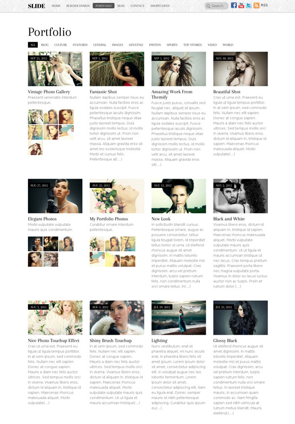 Slide Portfolio WordPress Theme - Photography