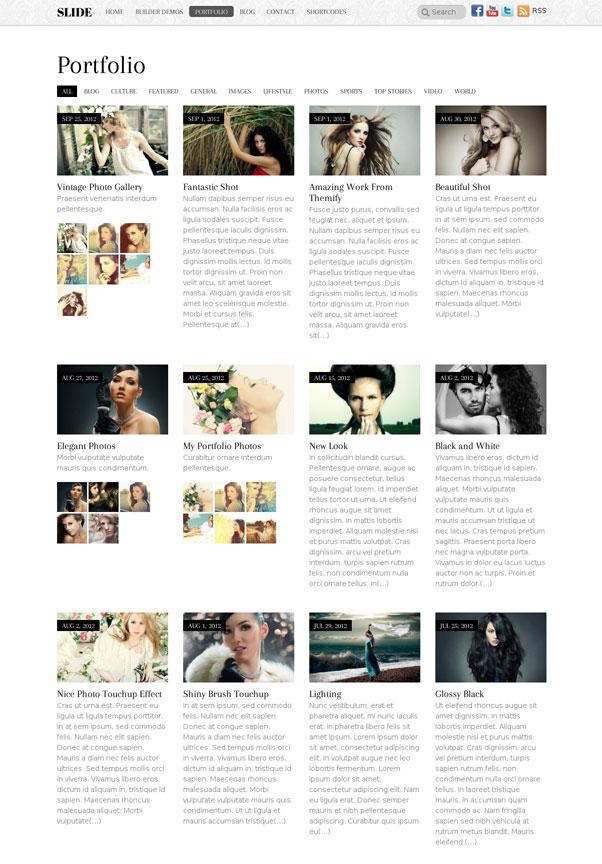 Slide Portfolio WordPress Theme - Photography