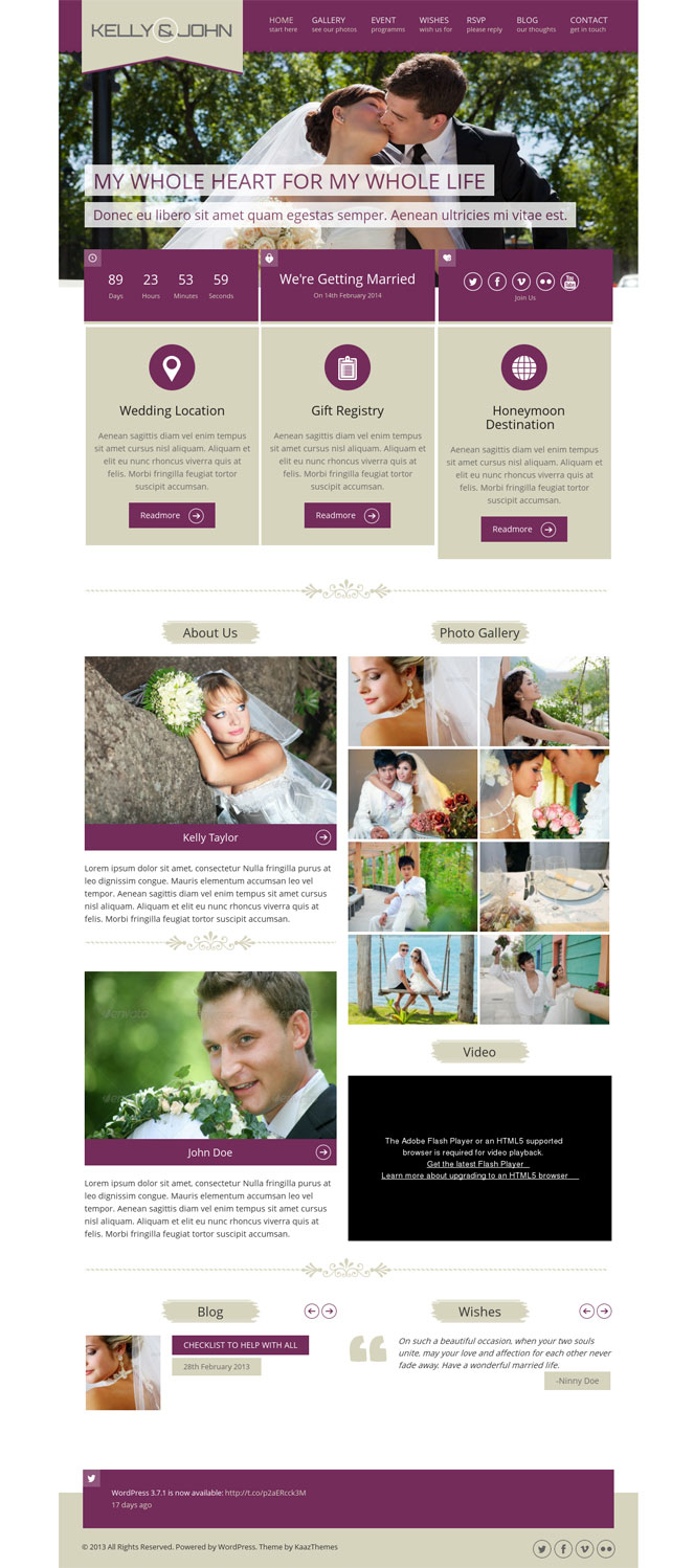 Soul WordPress Theme for Weddings and RSVP