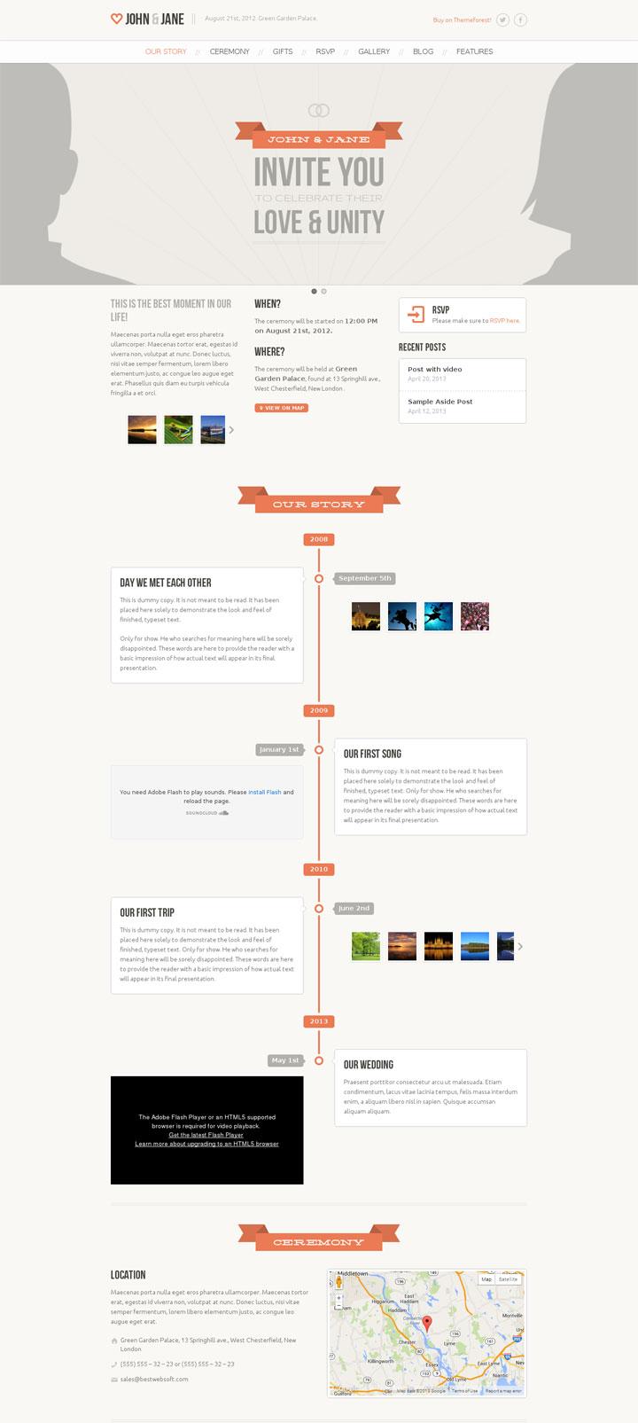 Wedding WordPress Theme with Timeline of Couple