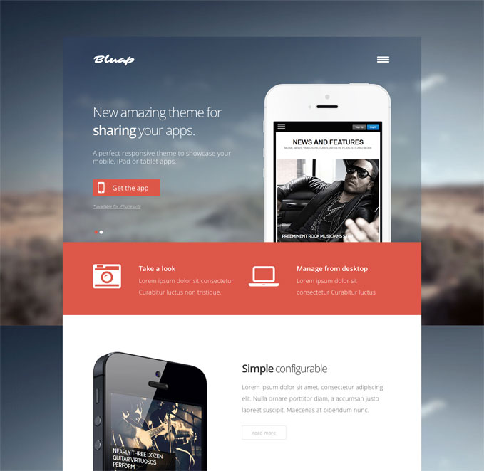 Bluap WordPress Mobile App Themes