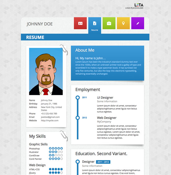 resume wordpress theme 1317