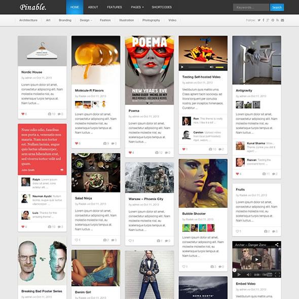Pinable Pinterest WordPress Theme