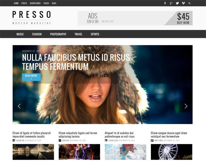 Presso Flat Magazine WordPress Theme
