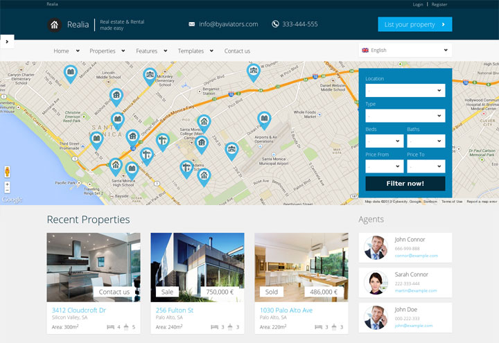 realia wordpress real estate theme
