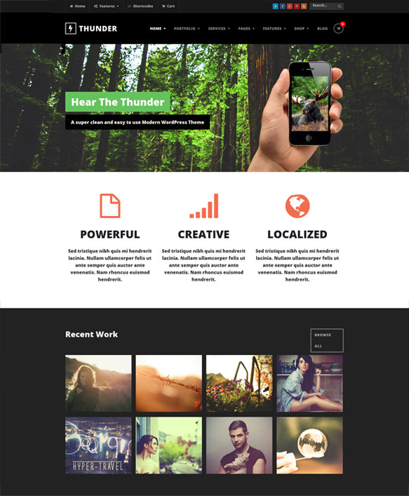 thunder wordpress theme flat