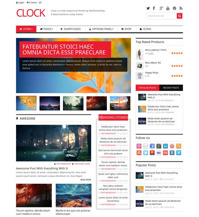 Clock WordPress Theme