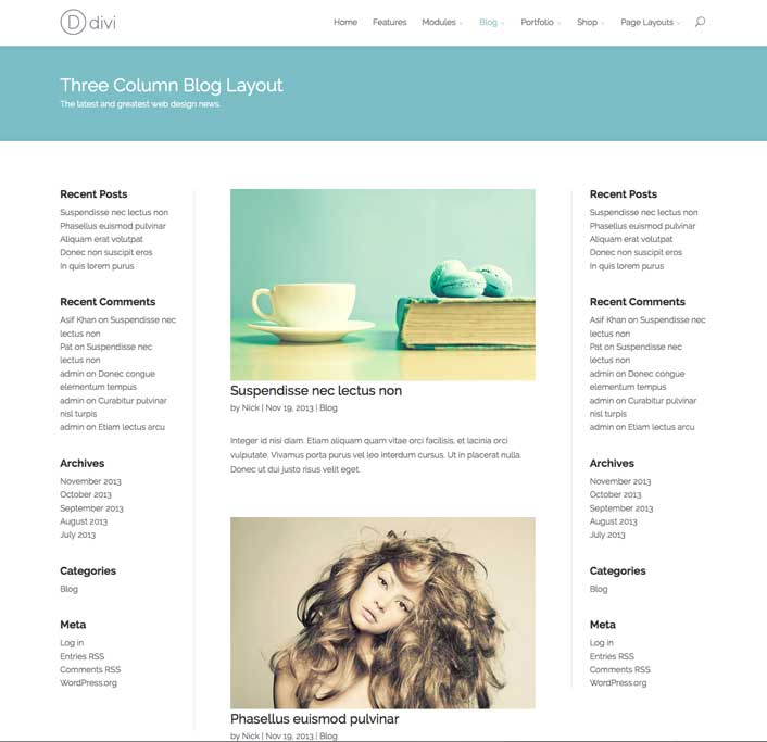 Divi WordPress Theme Three-Column Blog Layout