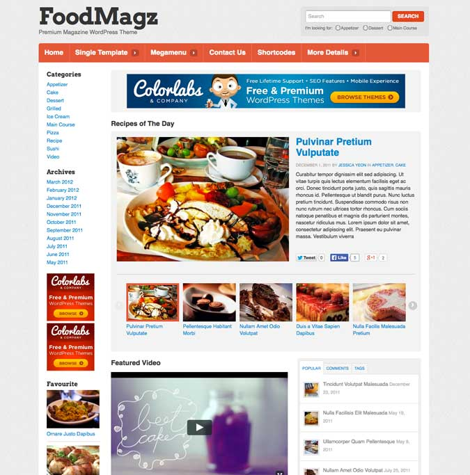 FoodMagz WordPress Theme Recipe and Food Magazine Theme ColorLabs