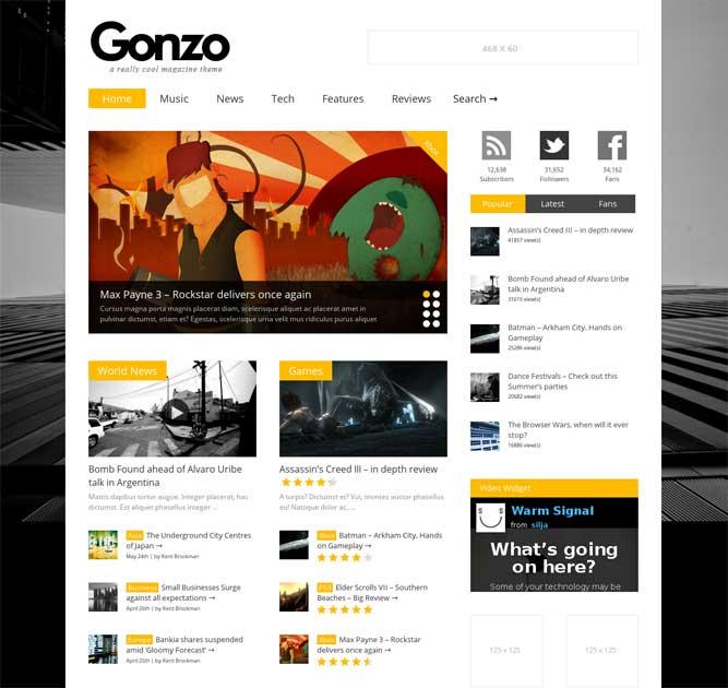 WordPress Magazine Themes Rsponsive Gonzo