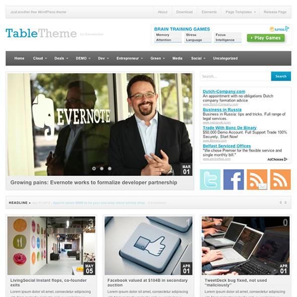Table WordPress Theme - Free Magazine Theme