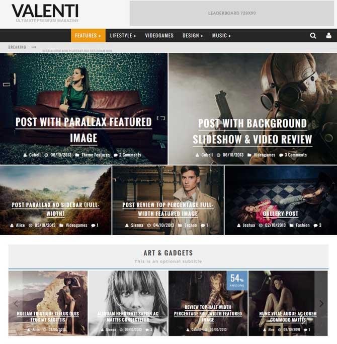 Valenti WordPress Theme for Magazines  Online