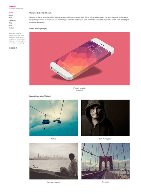 Corner - WordPress Minimal Portfolio Theme