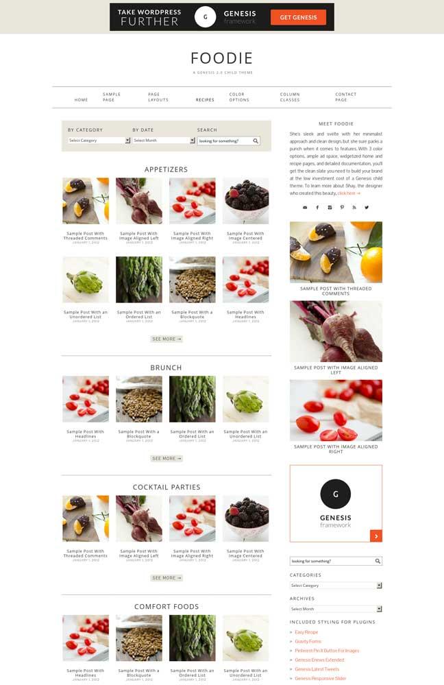 Foodie WordPress Theme for Genesis StudioPress Download