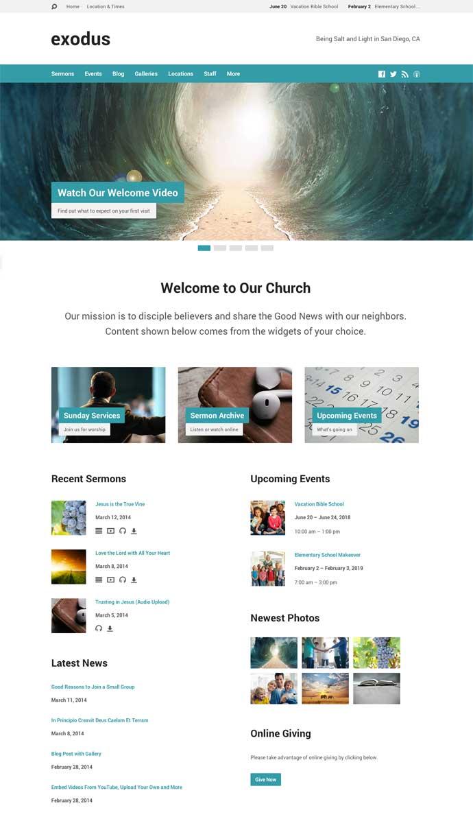 Exodus WordPress Theme for Churches