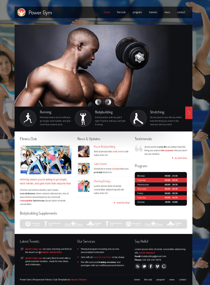 Power Gym WordPress theme template