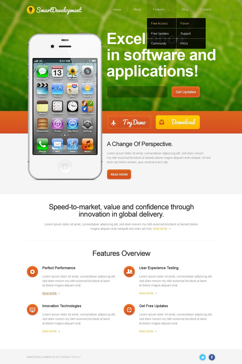 SmartDevelopment Template Monster mobile app theme