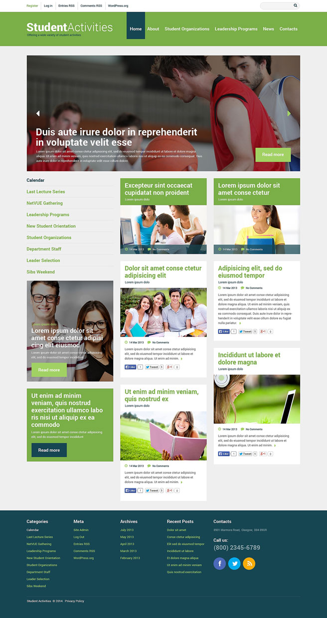 Student Activities WordPress Theme Extracurricular Activities