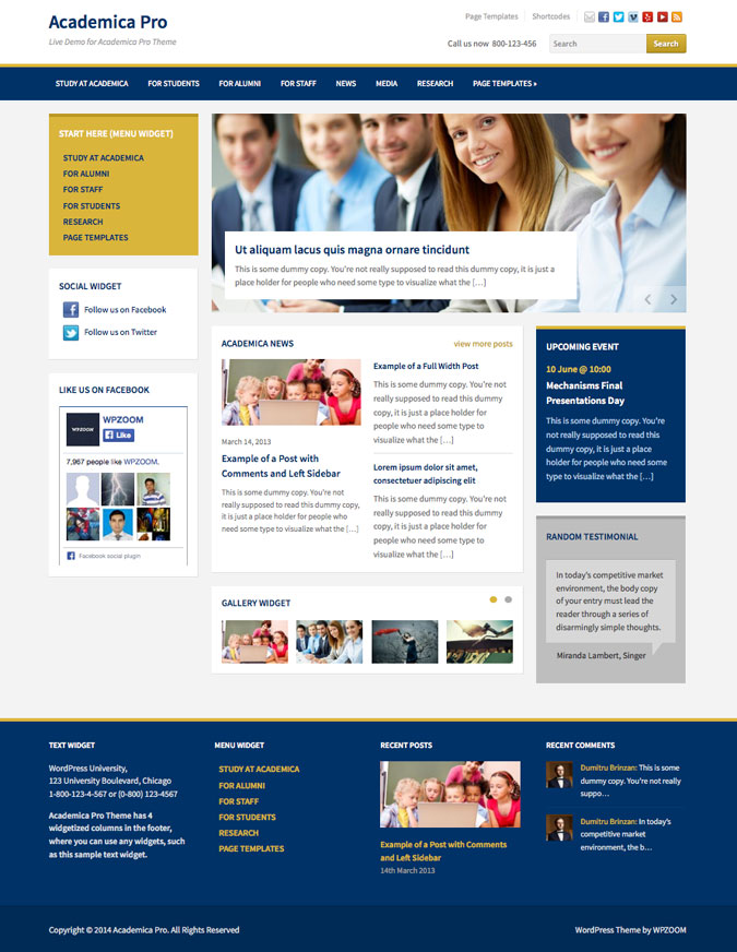 Academica Pro WordPress Theme for Univerities Academics