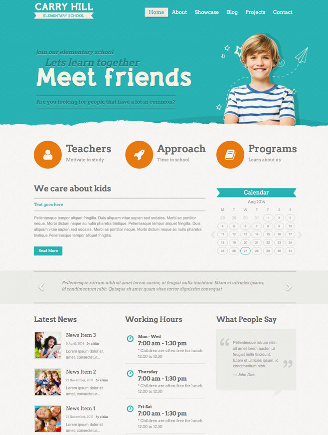 Carry Hill WordPress Theme for Elementary School, Preschool, Daycare, Kindergarten