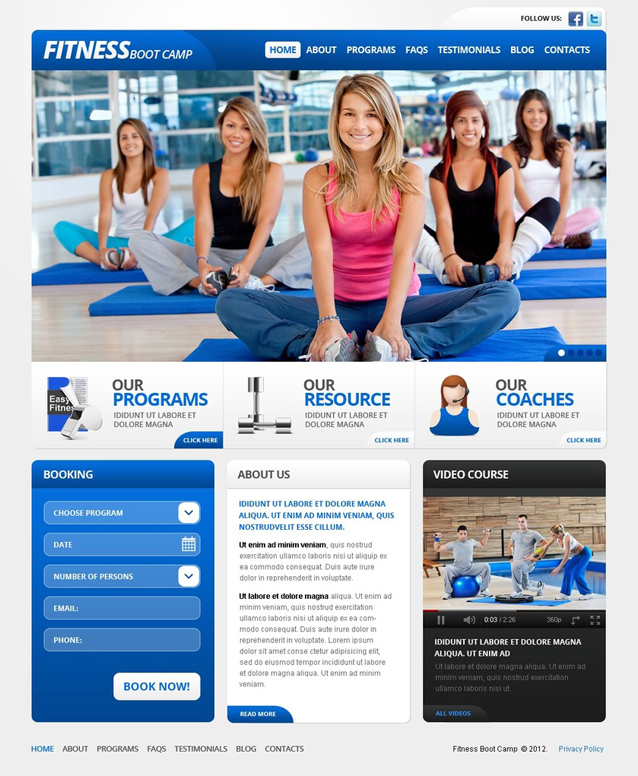 Boot Camp WordPress Gym Theme