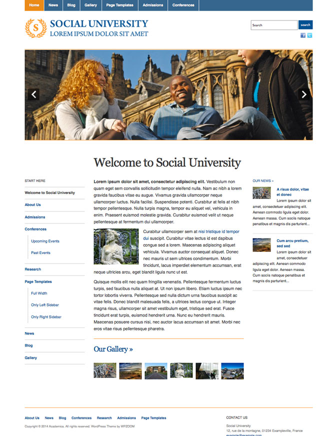 Free WordPress Education Theme College University