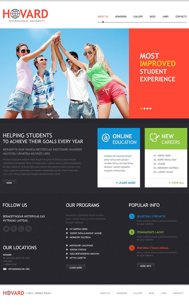 Flat University WordPress Theme Education