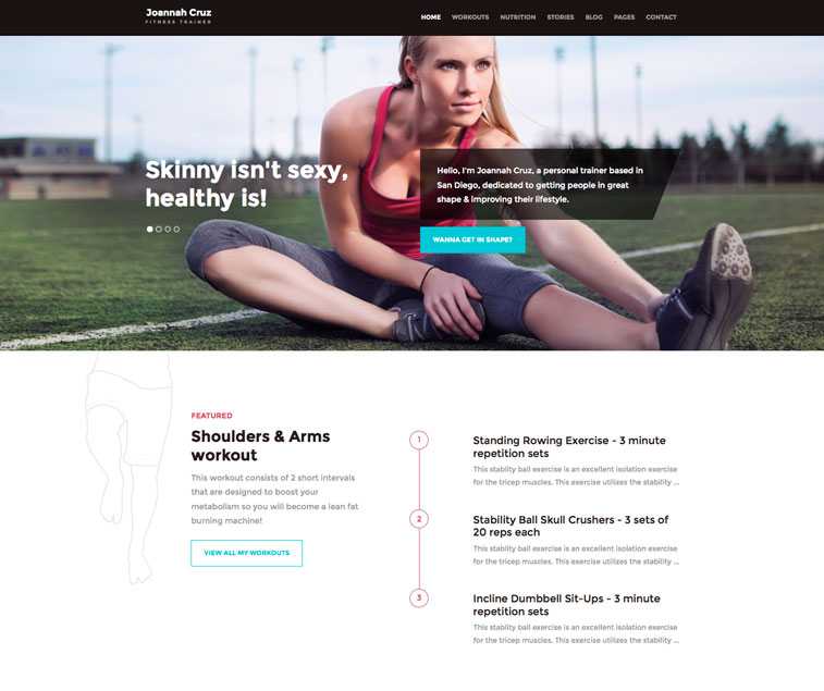 WordPress Fitness Theme for Personal Trainer