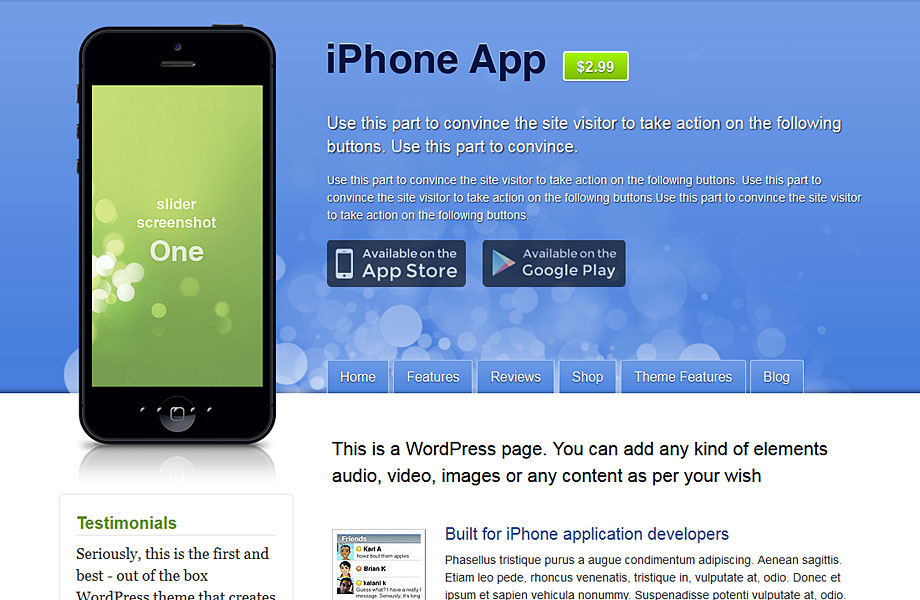 iPhone App WordPress theme smartphone application