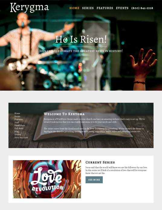Kerygma WordPress Theme for Churches