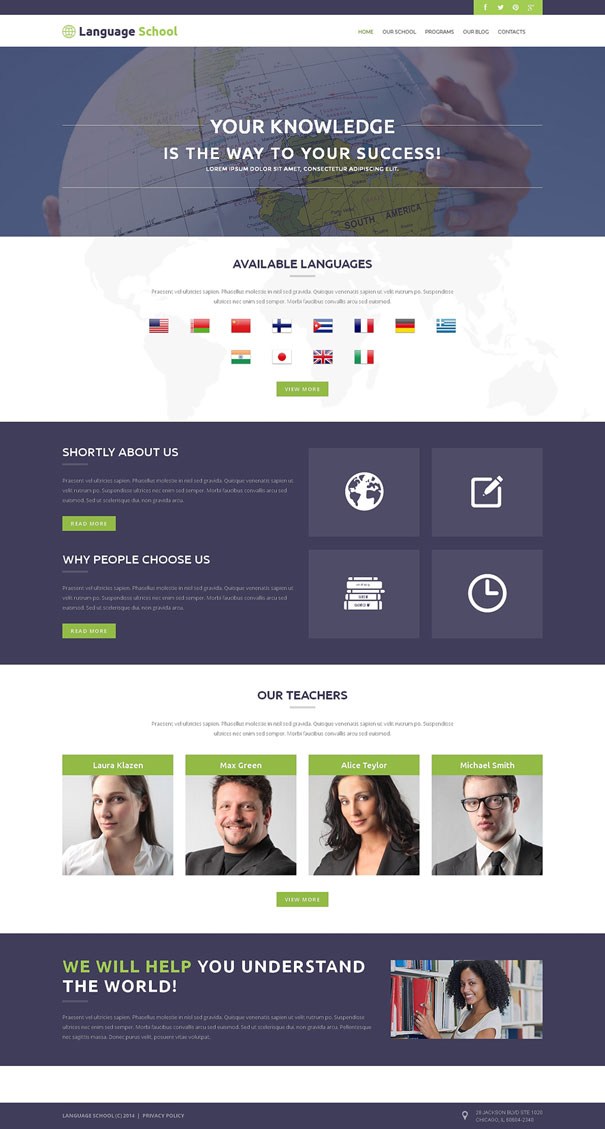 Foreign Language School WordPress Theme ESL