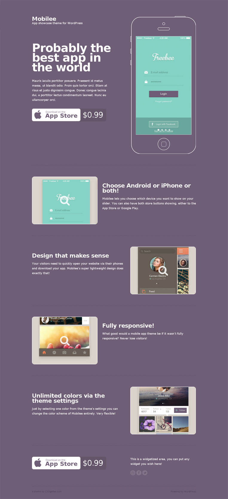 mobilee wordpress theme for mobile app showcase